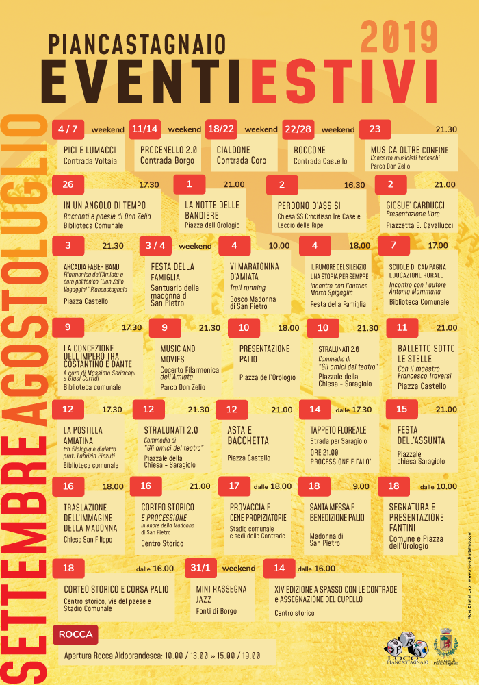 Calendario Eventi.Calendario Eventi Estivi 2019 Piancastagnaio Monte Amiata